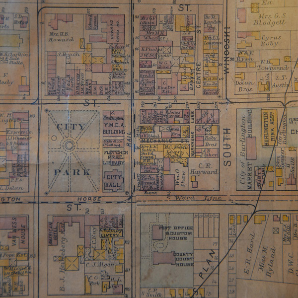 Close up view of a zoning map